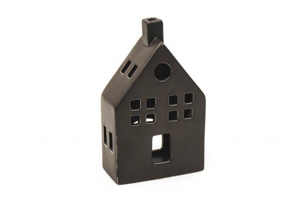 Keramikhaus schwarz M 12x6x20cm